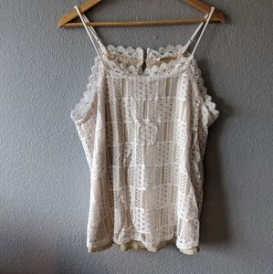 White and Cream Lace Tank